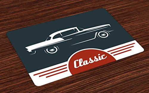 Lunarable Retro Place Mats Set of 4 Old Nostalgic Car with Classic Typography Emblem Auto Vintage Graphic Washable Fabric Placemats for Dining Room Kitchen Table Decor Indigo Ruby