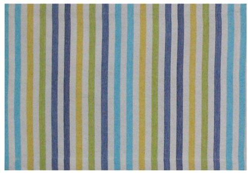 100 Cotton Yellow Blue Striped 13x19 Placemat Set of 6 - Capri