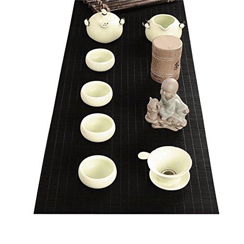 Tea Ceremony - Kung Fu Tea Set Mat Natural Bamboo Tablemat Slat Handmade Bamboo Sticks Decor Placemat Tea Table Runner 12 By 47-InchBlack