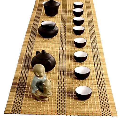 Tea Ceremony - Kung Fu Tea Set Mat Natural Bamboo Tablemat Slat Handmade Bamboo Sticks Decor Placemat Tea Table Runner 12 By 47-Inch Yellow