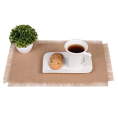 Eloine Linen Burlap Table Placemat-12 x 18- Set of 6 Placemats -Fringe Edges High Density -Rustic Natural Jute- Natural Color