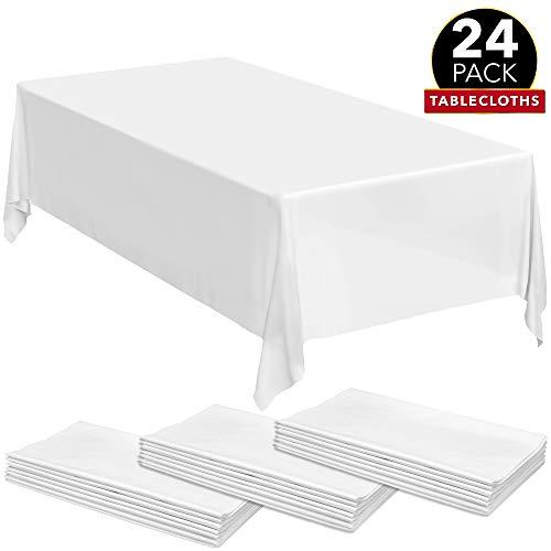 24 White Premium Plastic Tablecloth - 108 X 54 Plastic Table Cloth  Disposable Tablecloths  White Tablecloths  Plastic Table Cover  Paper Tablecloths for BBQ Party Fine Dining WeddingOutdoor