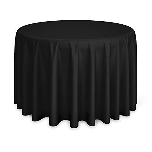 Lanns Linens - 10 Premium 120 Round Tablecloths for WeddingBanquetRestaurant - Polyester Fabric Table Cloths - Black