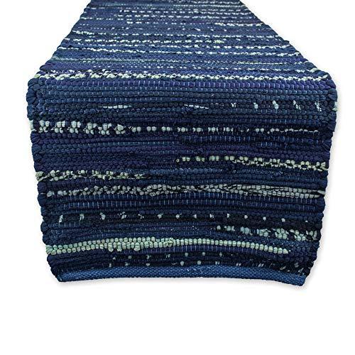 DII Everyday Machine Washable Chindi Rag Table Runner 14 X 72 Nautical Blue
