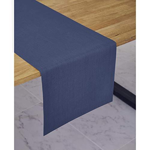 Solino Home Medium Weight Linen Table Runner - 100 Pure Linen - 14 x 48 Inch Blue