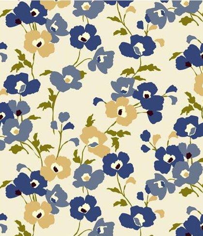 Blue Poppy Fields Flannel Backed Vinyl Tablecloth - 60 x 84 Oval