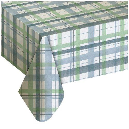 Lexington Plaid Blue Vinyl Tablecloth 60X84 Oval