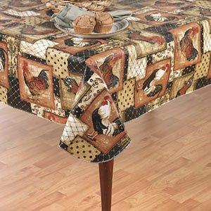 Vintage Rooster Flannel Back Vinyl Tablecloth 60 x 84 Oval