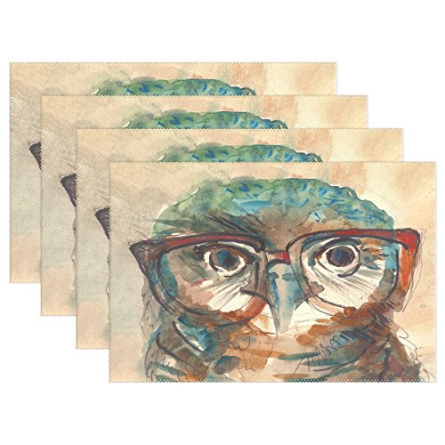 WOZO Wise Owl in Hipster Glasses Placemat Table Mat Painting 12 x 18 Polyester Table Place Mat for Kitchen Dining Room Set of 4