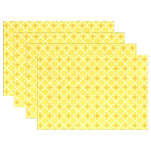 LAVOVO Placemats Plate Holder Set of 6 Heat-resistant Stain Resistant Yellow Floral Table Mats for Kitchen 12x18