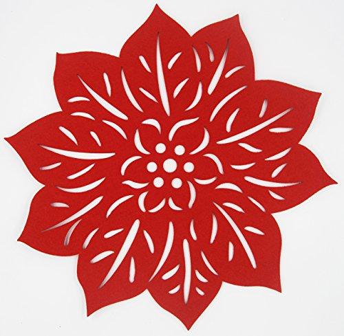 Matjoys Poinsettia Festival Felt Placemats - 38 cm 15 Inch Round - Liquid Absorbent Heat Resistant Set of 4 Place Mats