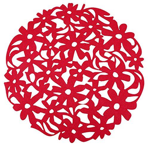 Red Kitchen Dinner Round Laser Cut Flower Felt Placemats Table Decor Mats