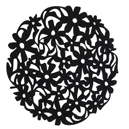 SODIALR Round Laser Cut Flower Felt Placemats Kitchen Dinner Table Cup Mats Cushion Black