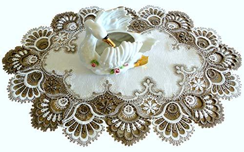 Galleria di Giovanni Lace Place Mat Dresser Scarf Doily Cocoa Brown Neutral Antique White European Placemat Earth Tones