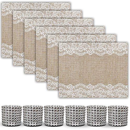 Trivetrunner Decorative Modular Trivet Runner with 6 pcs Placemats Set Hot Pad Heat-Resistant Surfacefor Hot Plates Pots Dishes 6 Pcs Jute Lace Placemtas