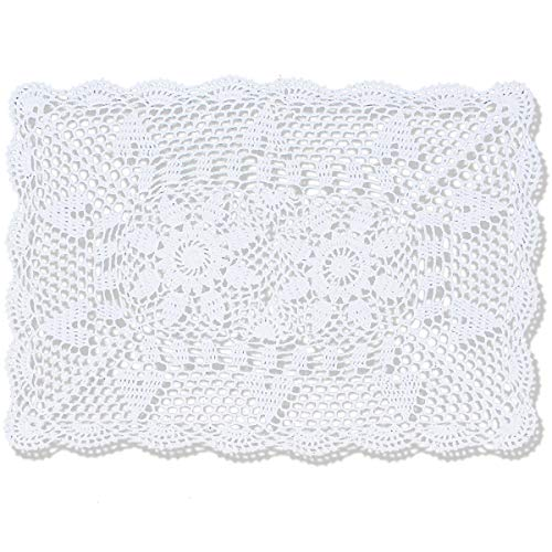 gracebuy 16 inch by 24 inch White Rectangle Handmade Cotton Crochet Lace Placemat