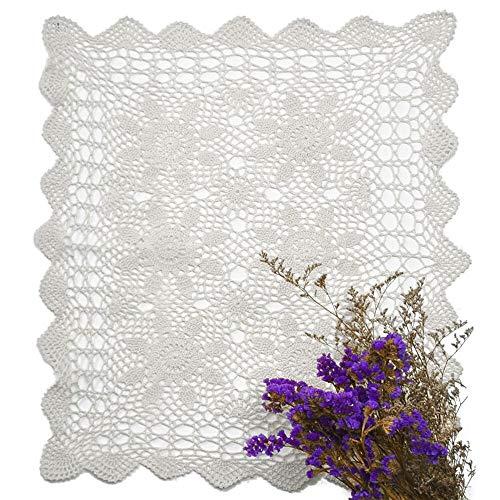 yazi Tablecloth Handmade Crochet Cotton Lace Rectangular Table Placemat Sofa Doilies White Color 16x24