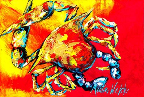 Carolines Treasures MW1086PLMT Crab Hot Dang Fabric Placemat Large Multicolor