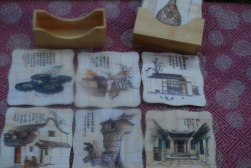 Bamboo Coaster Set - Traditional Scene