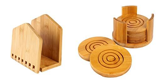 Home Basics Napkin Holder Bamboo Wood Adjustable Napkin Holder 6 Bamboo Coasters for Drinks Coasters with Holder 2 pieces set