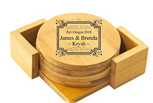 Personalized Coaster  Custom Engraved Coaster Set - BAMBOO ROUND COASTER SET