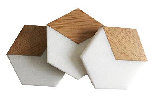 White Marble and Bamboo Coaster Set