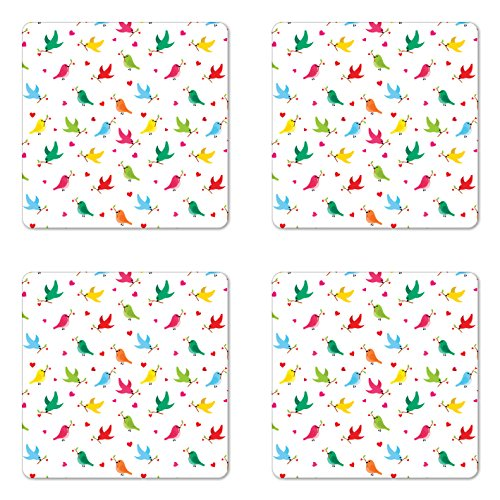 Birds Coaster Set of Four by Ambesonne Pattern with Flying Birds Carrying Heart Branches Love Valentines Home Art Print Square Hardboard Gloss Coasters for Drinks Multicolor