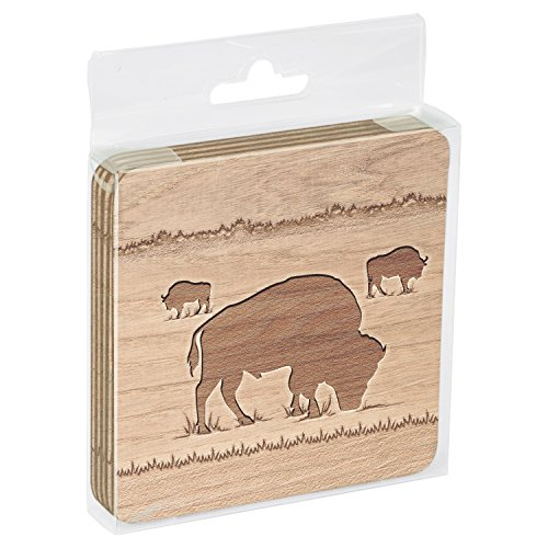 Tree-Free Greetings Set Of 4 Cork-Backed Coasters 375 x 375 Inches Buffalo Woodcut Themed Wildlife Art 16113