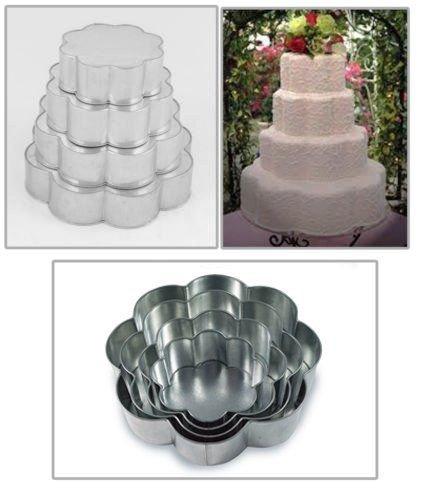 4 Tier Petal Multilayer Wedding Birthday Anniversary Baking Cake Tins Cake Pans 6 8 10 12 3 Deep - Falcon