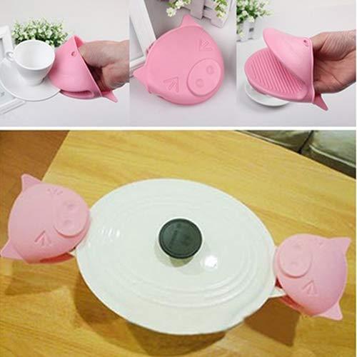 1Pc Heat Resistant Silicone Anti-Slip Oven Glove Mitt Cute Pig Cake Baking Tool