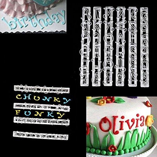 TraveT 6pcs Alphabet Number Letter Cake Cookie Decorating Cutter Mold Set