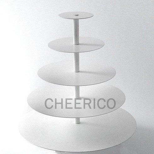 CHEERICO 5 Tier White Maypole Round Wedding Acrylic Cupcake Stand Tree Tower Cup Cake Display