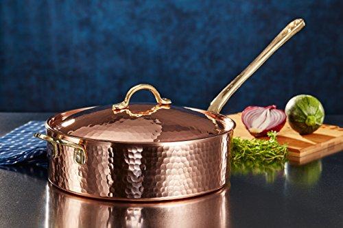 Demmex 1 mm Thick Copper Saute Pan with Lid 3 Quarts - 375lb