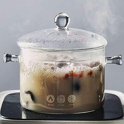 Bakers Basics Saucepans Glass Pot Casserole Baking Oven Blooming Heat-resistant Glass Cooking Pot Covered Saucepan with Lid Pasta Pot Cookware-11quart 1L Clear