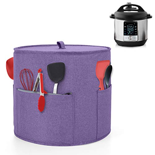Yarwo Dust Cover for 6 qt Instant Pot Cover with Pockets and Top Handle for 6 Quart Pressure Cooker and Kitchen Tools Purple