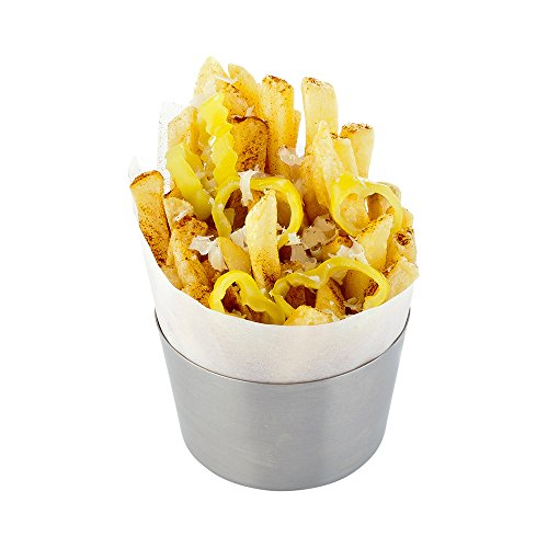 Short French Fry Cup Metal Fry Cup - Stainless Steel - Satin Finish - 1ct Box - Met Lux - Restaurantware