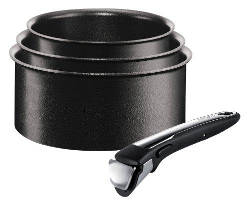 Tefal Ingenio Non-stick Induction Saucepan Set 4 Pieces - Black