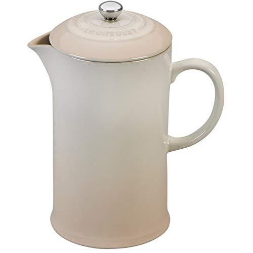Le Creuset Meringue Stoneware 27 Ounce French Press Coffee Maker