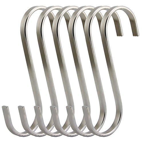 RuiLing Premium 6 Pack Size X-Large Brushed Stainless Flat S Hooks Kitchen Pot Pan Hanger Clothes Storage Rack