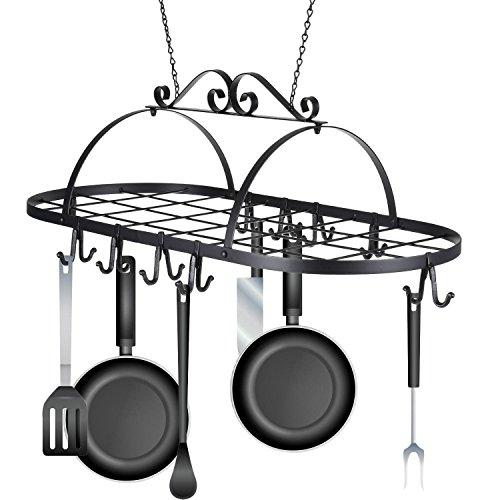 Kaluo Iron Oval Pot Rack Ceiling Mounted Hanging Kitchen Utensils Pots Pans Holder Hanger Rack