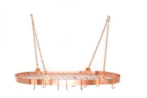 Old Dutch Oval Pot Rack with Grid 12 Hooks Satin Copper