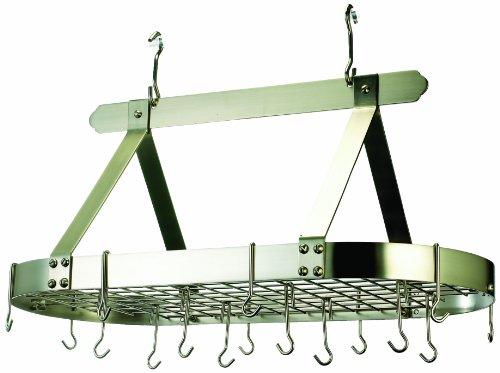 Old Dutch Oval Steel Pot Rack w Grid16 Hooks Satin Nickel 36 x 19 x 155