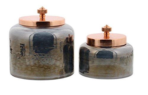 Deco 79 94967 Glass Jars with Iron Lids Set of 2 4 x 5 BlackRosegold
