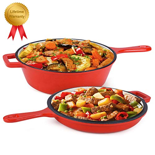 Enameled 2-In-1 Cast Iron Multi-Cooker - Heavy Duty 32 Quart Skillet and Lid Set Cast Iron Saucepan and Shallow Skillet Lid Set Sauce Pot Nonstick Frying Pan Red