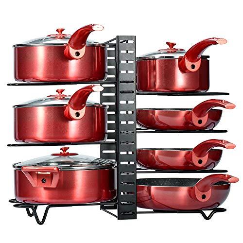 Glotoch Pot Rack Organizer,3 DIY Methods Adjustable Height and Position 8 Pots Holder Black Metal Kitchen Cabinet Pantry Pot Lid Holder(Upgraded