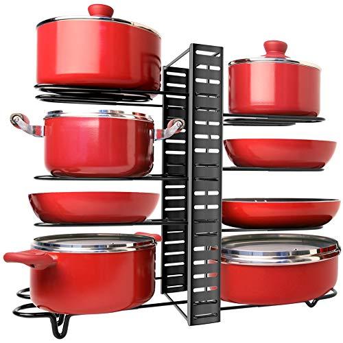 Pan Organizer Rack for Cabinet - Adjustable Pots Pans Organizer Rack with 3 DIY Methods - 8 Metal Shelves Lid Holder with Anti-slip Layer - Sturdy Kitchen Cabinet Pantry Organizer for Cookware Storage