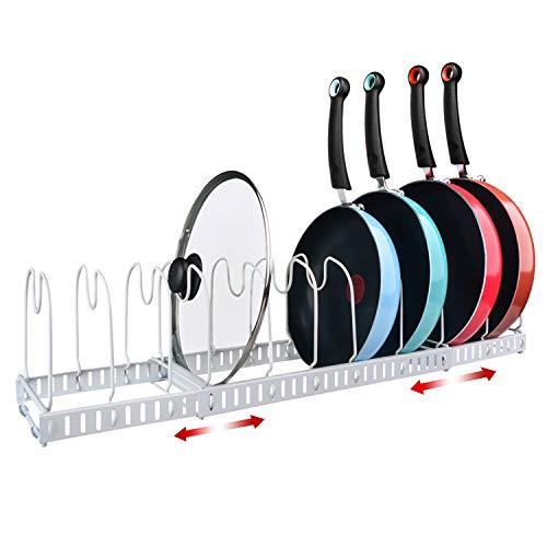 X-cosrack 11 Dividers Pot Pan Lid Rack Bakeware Cupboard Organizer Expandable Patent Pending White