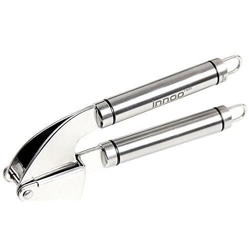 Garlic Press Stainless Steel - Innoo Tech Kitchen Helper Garlic & Ginger Press Or Presser - Mince Unpeeled Cloves