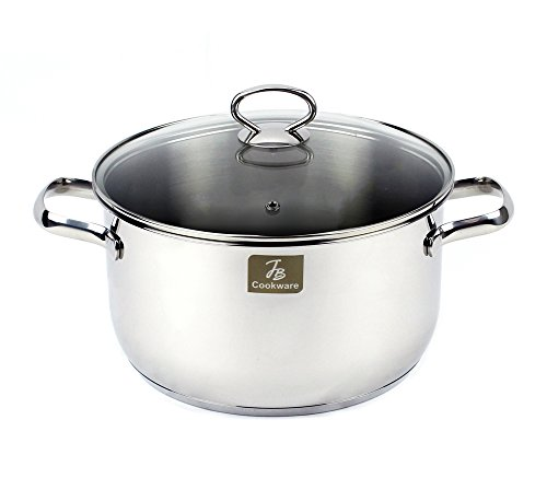 Excelife JBCH1124 JB Cookware Charment Stainless Steel Induction Stock Pot with Tempered Glass Lid 106 quart Silver