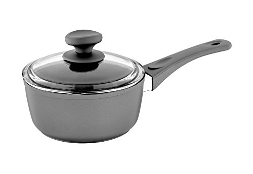 Saflon Titanium Nonstick 2-Quart Sauce Pan with Tempered Glass Lid 4mm Forged Aluminum with PFOA Free Coating from England
